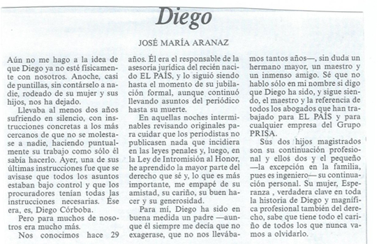 Artículo de Jose María Aranaz sobre Diego Córdoba