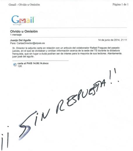 Carta al director sin respuesta