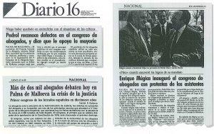 Noticias de Diario16 del Congreso de abogados de Palma, 1989