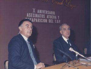 Antonio Rato Rodríguez de Moldes y Joaquín Ruiz Jiménez. Intervención en el acto en conmemoración del X aniversario de los asesinatos de Atocha y desaparición del TOP
