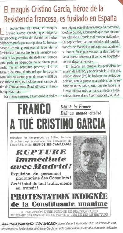 Noticia del fusilamiento de Cristino García