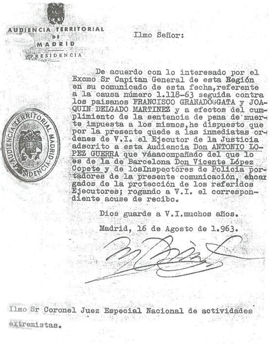 Orden de ejecución de Francisco Granado y joaquín Delgado.