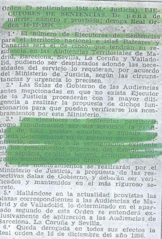 BOE nº281, de 7 de octubre de 1948, sobre la remuneración de los 'ejecutores de sentencias'.