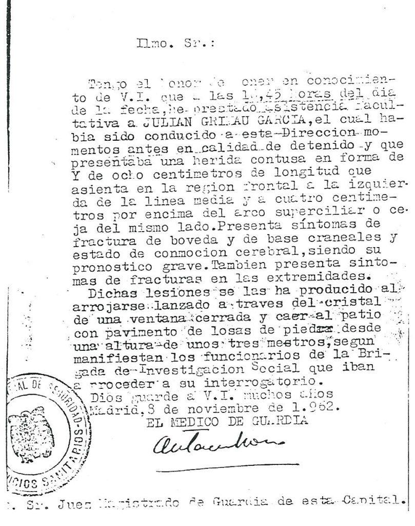 Informe médico de Julián Grimau de la Direccion General de Seguridad de 1962