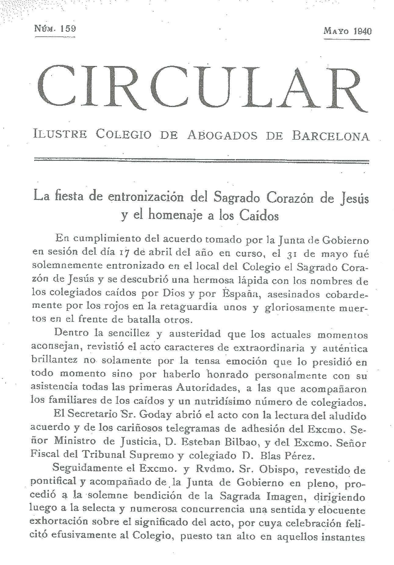 Circular del Colegio de abogados de Barcelona por la entronización del Sagrado Corazón, 1940