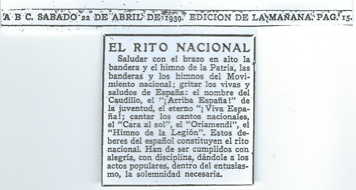 Noticia del periódico ABC del 22 de abríl de 1939