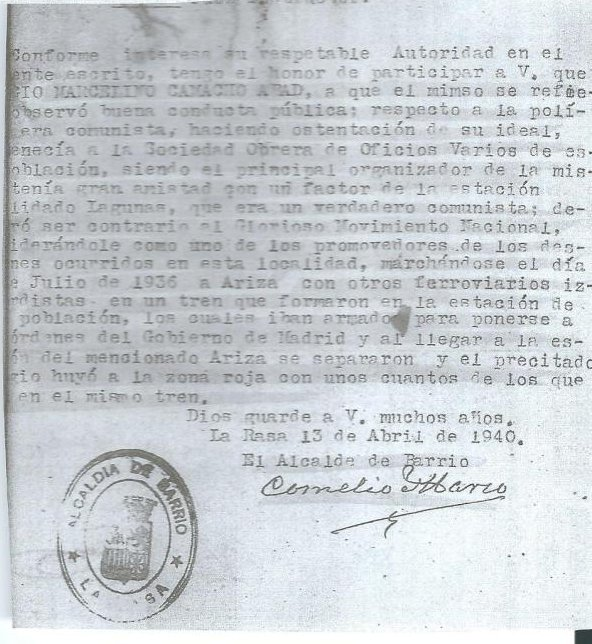 Declaración de Marcelino Camacho