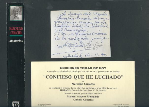 Invitación y dedicatoria firmada por Marcelino Camacho y Josefina Samper para Juanjo del Águila