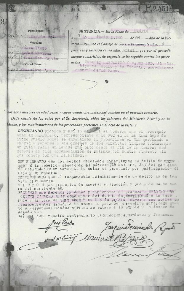 Sentencia de Marcelino Camacho