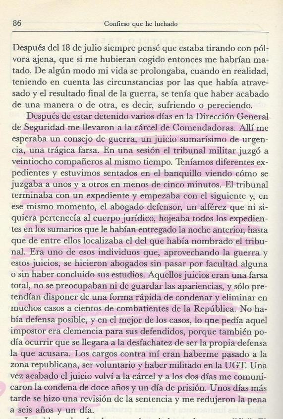 Página del libro Memorias. Confieso que he luchado, ediciones Temas de Hoy, Madrid, noviembre de 1990