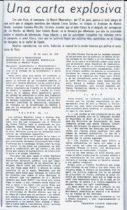 Copia de la carta enviada el 21 de mayo de 1965 por Eduardo Cierco Sánchez al Excelentísimo y Reverendísimo Arzobispo de Madrid –Alcalá Monseñor M. Casimiro Morcillo.