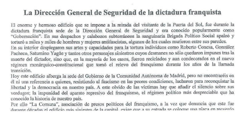 Fragmento del comunicado de La Comuna sobre la Dirección General de Seguridad
