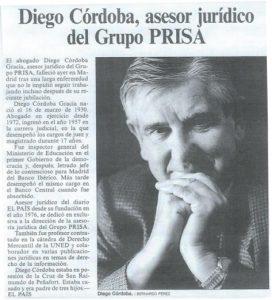 Necrológica de Diego Córdoba