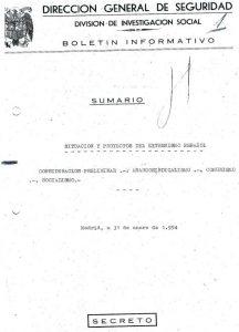 Portada de la Boletin Informativo a la Brigada Político Social de Zaragoza del 31 de Enero de 1954