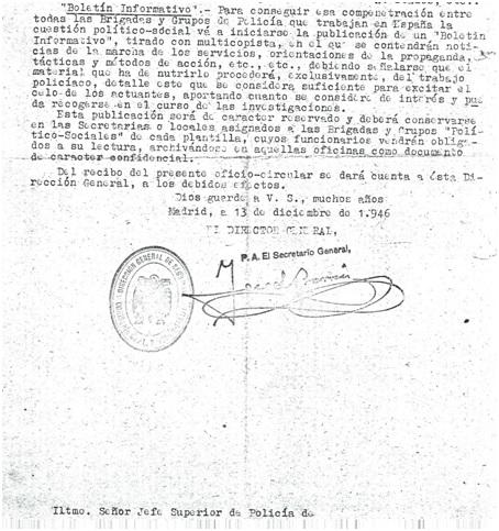 Circular de los boletines de la Brigada Político Social, 1946