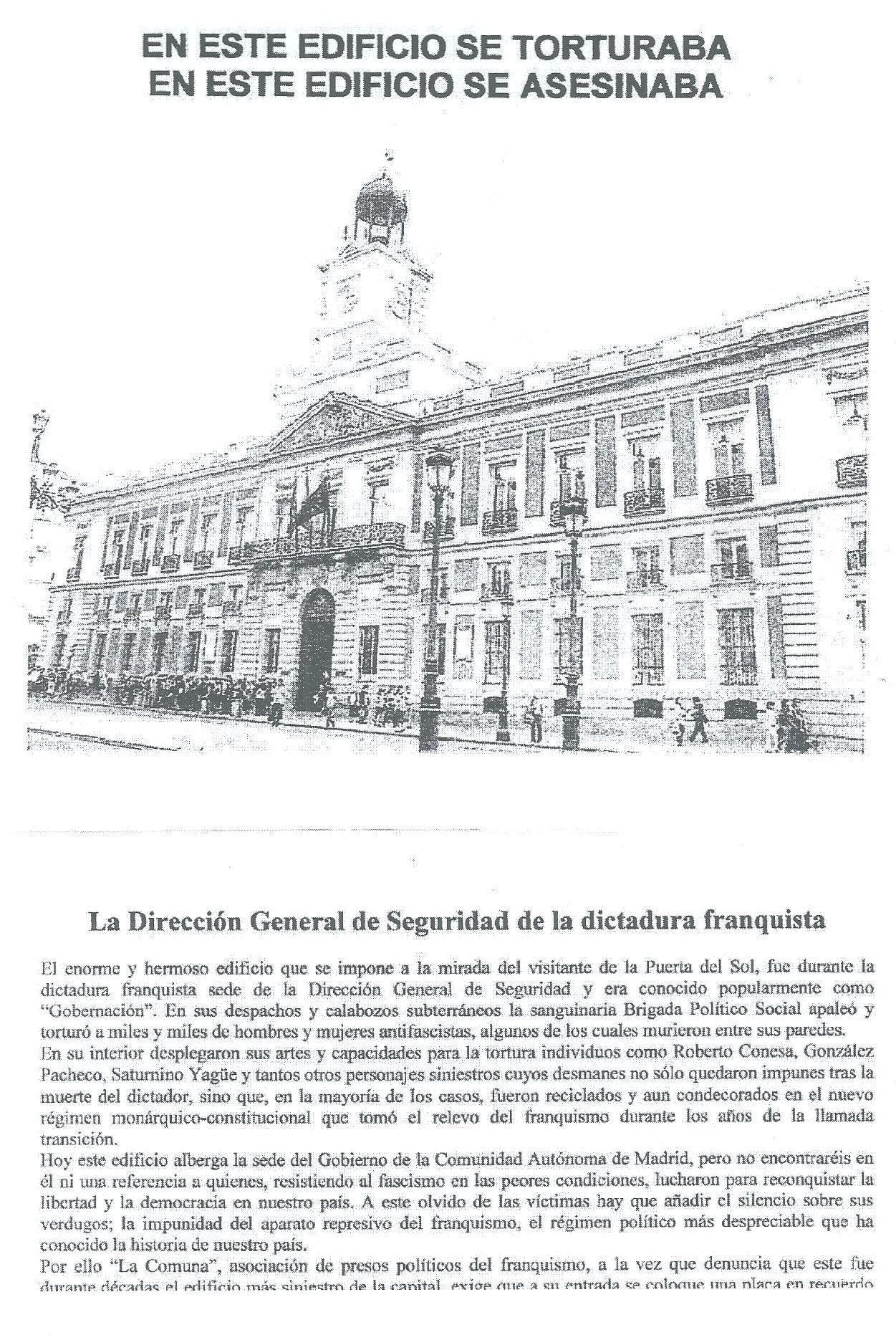 Comunicado de La Comuna. Asociación de presos políticos del franquismo.