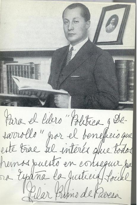 Fotografía de Jose Antonio Primo de Rivera, con nota manuscrita de su mujer Pilar