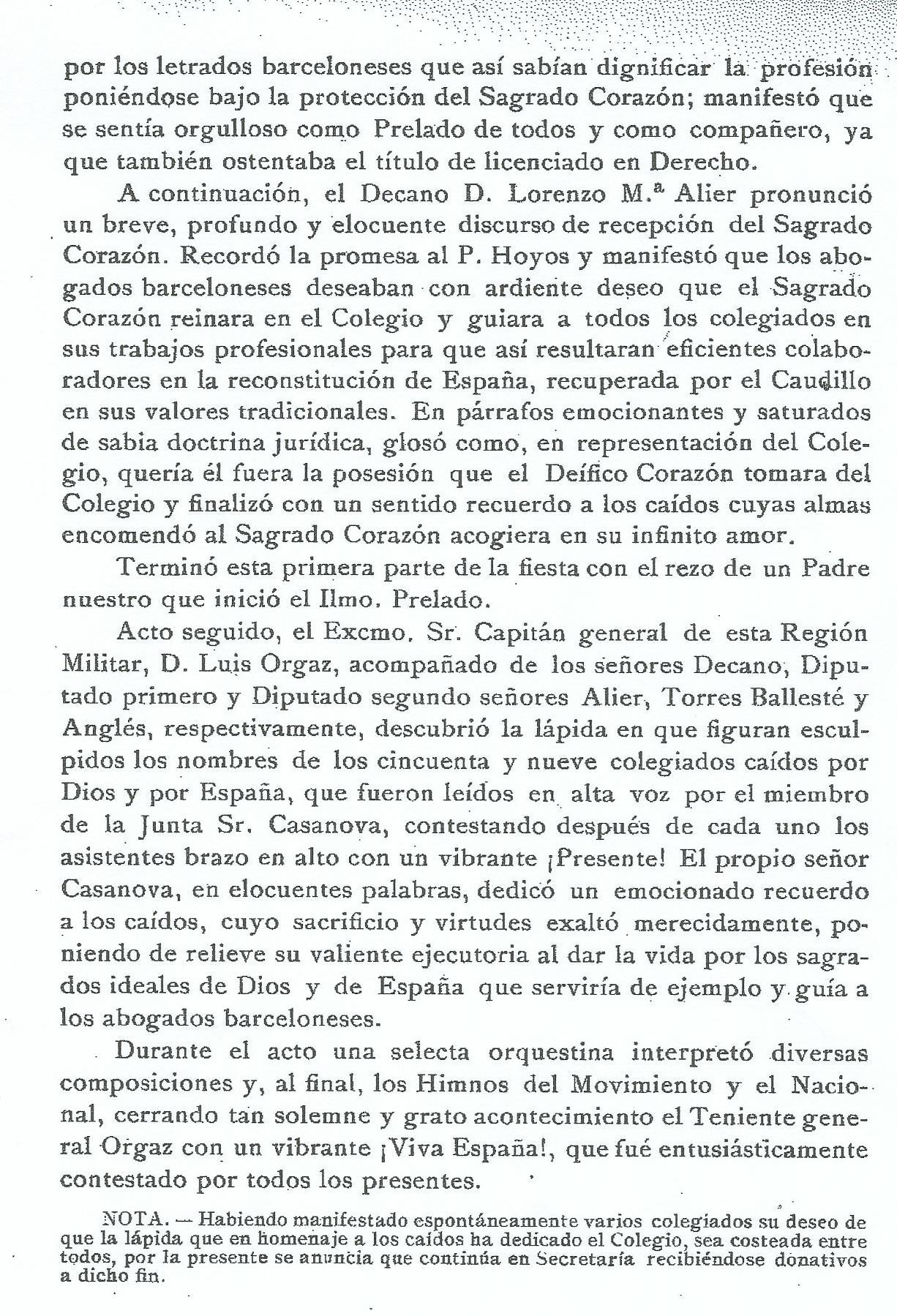 Circular del Colegio de abogados de Barcelona, 1940, segunda página