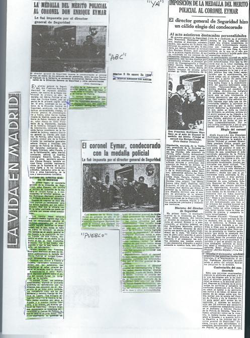 Noticias de prensa sobre el coronel Eymar