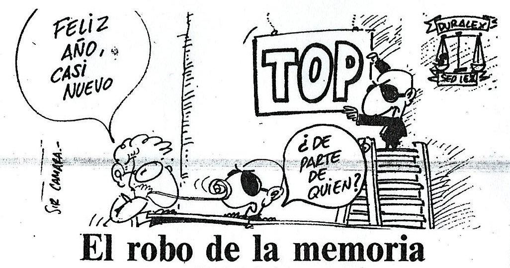 Viñeta de Sir Camara para Diario 16, 'El robo de la memoria'